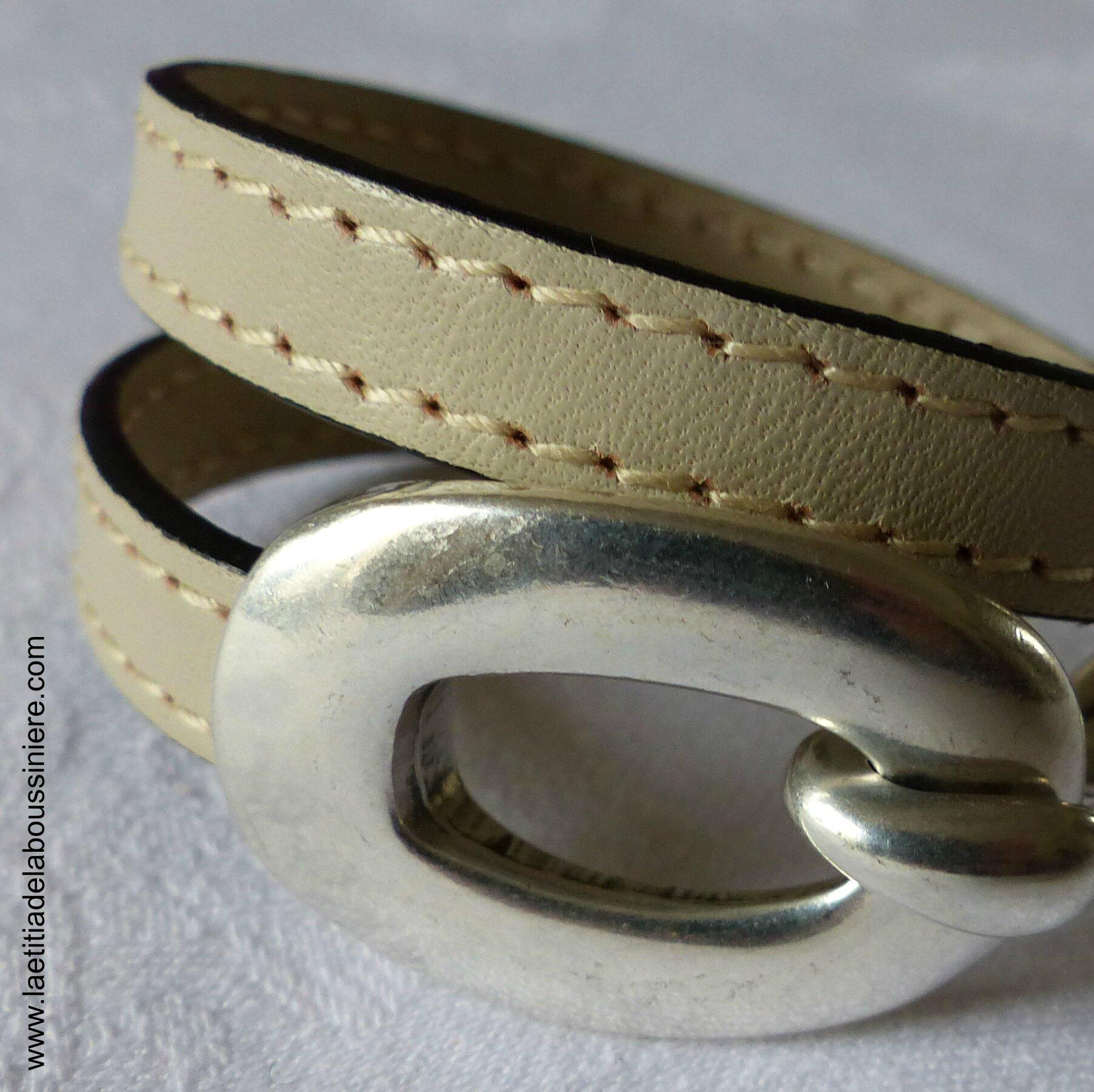 Bracelet Boucle en cuir double tour (taupe)