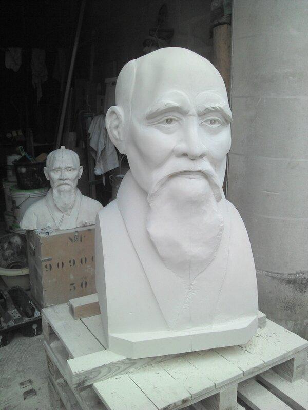 Fulbert DUBOIS sculpteur - Sculpture pierre - buste o sensei Morihei Ueshiba