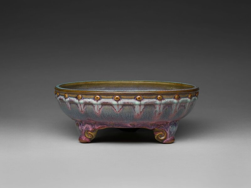 Circular Basin with Drum-Nail Decor and Three Cloud Scroll Feet, Ming dynasty, 1368-1644, probably 15th century (1)