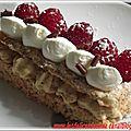 Dacquoise noisette Crème pralinée framboises