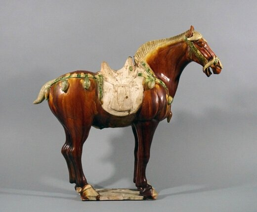 A Large Sancai-glazed Buff Pottery Horse