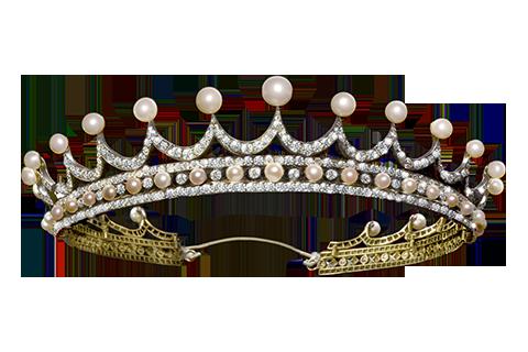 A Late 19th Century Natural Pearl and Diamond Tiara
