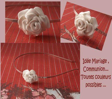 Serre-tête rose blanche