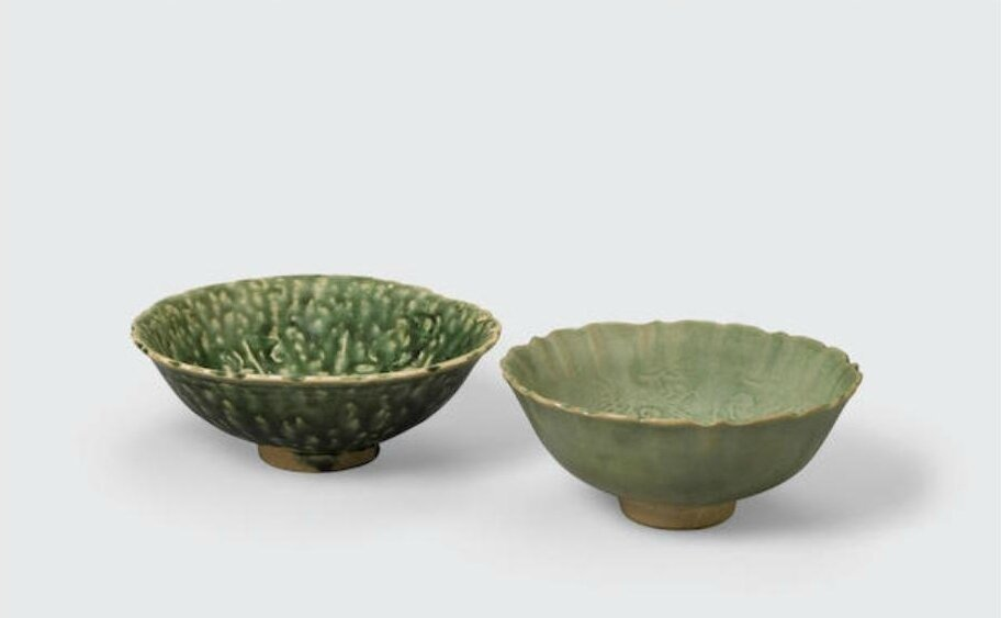 Two green glazed bowls with unglazed stacking rings, Trần -Lê dynasty, 14th-15th century