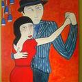 Nouvelle toile pas encore achevée les danseurs de tango