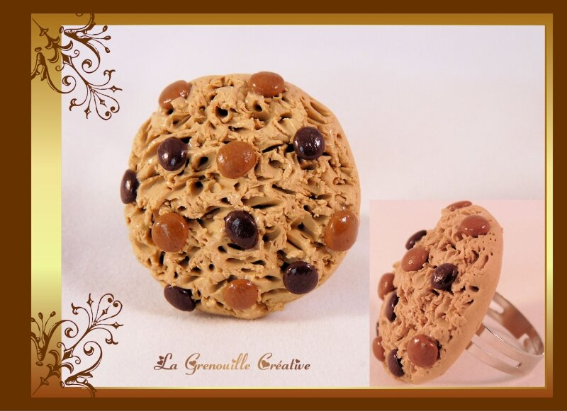 Bague cookie caramel