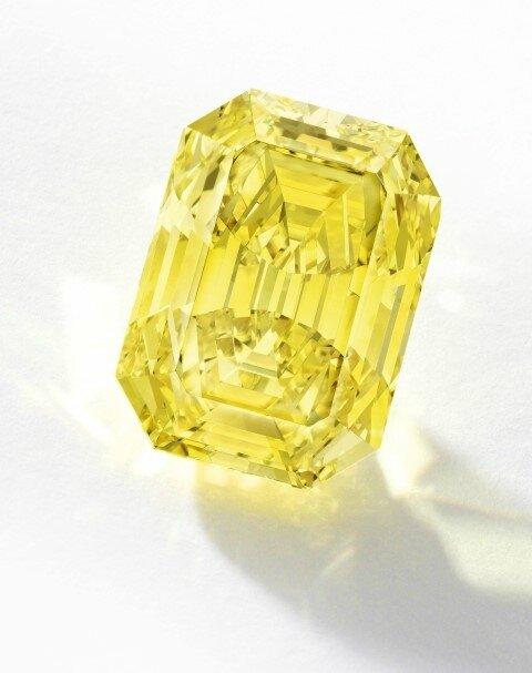 Unmounted Step cut Fancy Vivid Yellow diamond 20