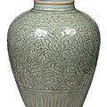 A carved Longquan celadon jar, collection of Seikado Bunko Art Museum