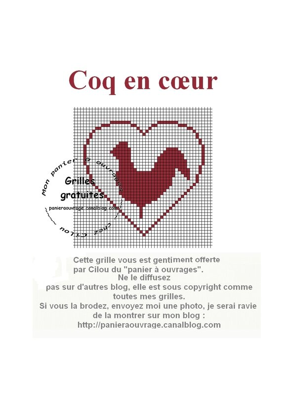 coq en coeur grille
