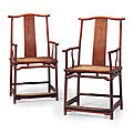 A pair of huanghuali southern official's hat armchairs, guanmaoyi, 19th century