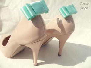 clip chaussure accessoire noeud rétro mariage vert mint 3