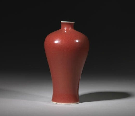 A copper-red-glazed vase, meiping, Yongzheng. Photo Bonhams.