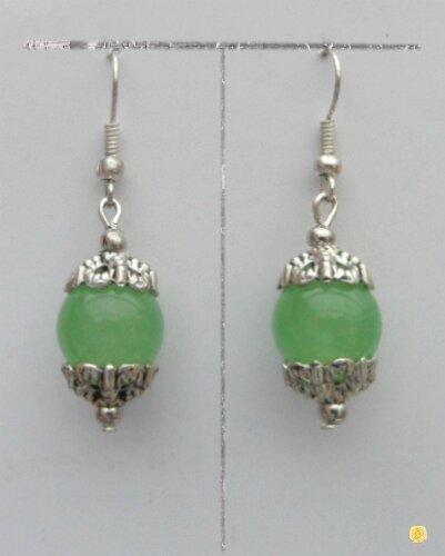 Boucles d'Oreilles Elpis Perle Jade Vert Clair 10 mm Crystal Argent Du Tibet
