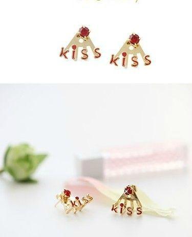 Boucles d'Oreilles Fashion Kiss Strass et Email Rouge Métal Couleur Doré