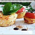 flan de tomates au basilic, mozzarella, parmesan et sésame doré + défi cuisine: