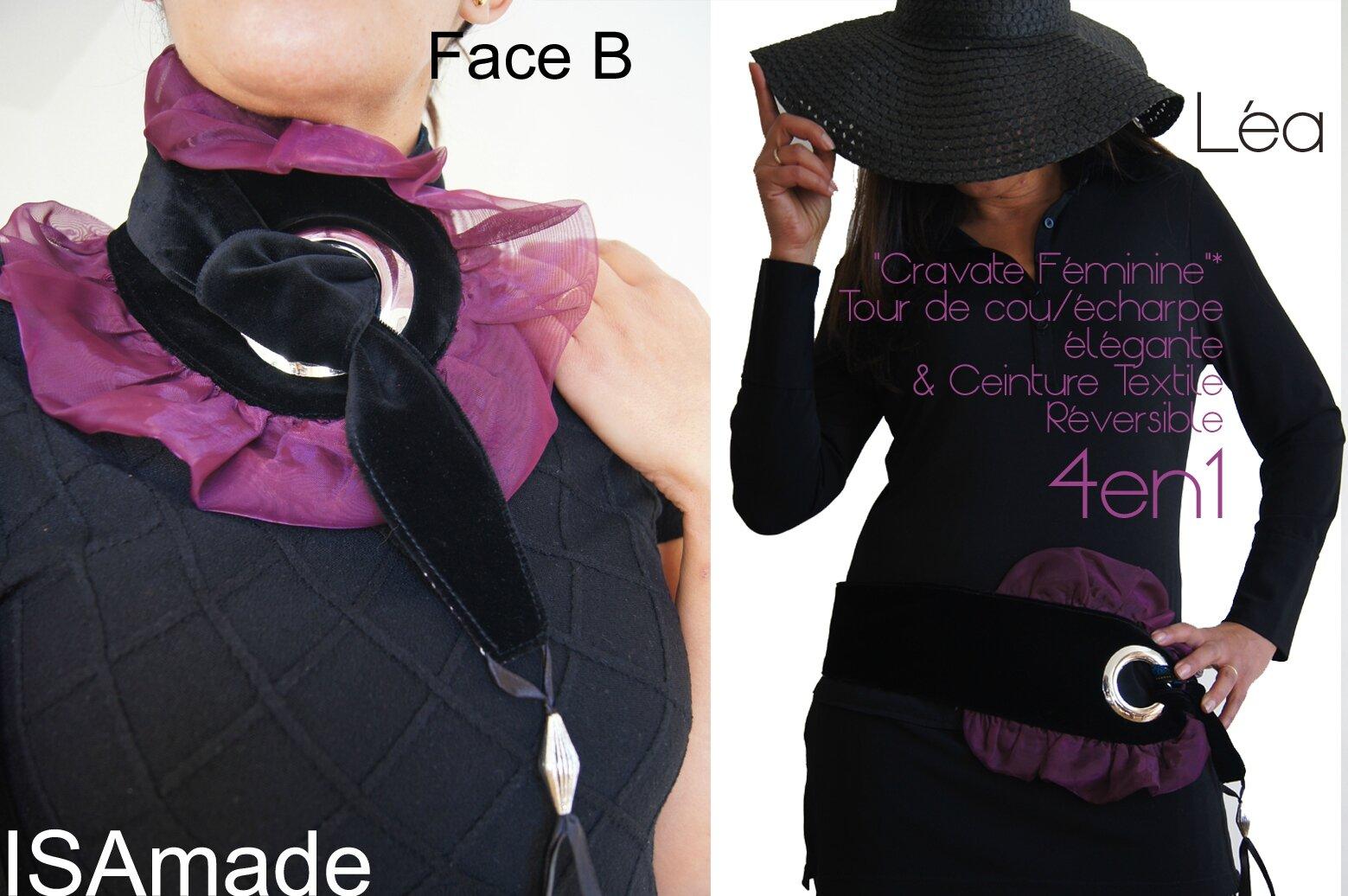 Cravate/ tour de Cou & Ceinture Reversible Chic et Précieuse : tissu imprimé Violet mauve noir et velours noir & Crème