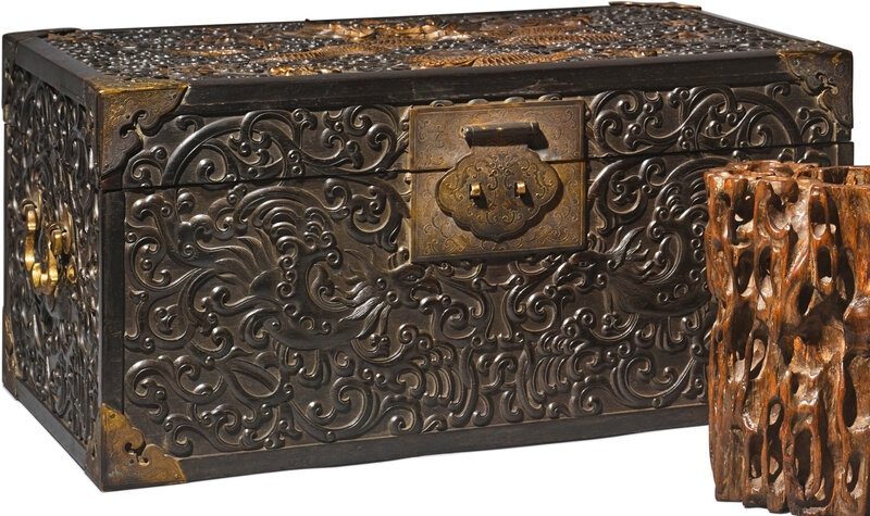 A 'zitan' 'Dragon and Phoenix' document box and cover, Qing dynasty, 19th century