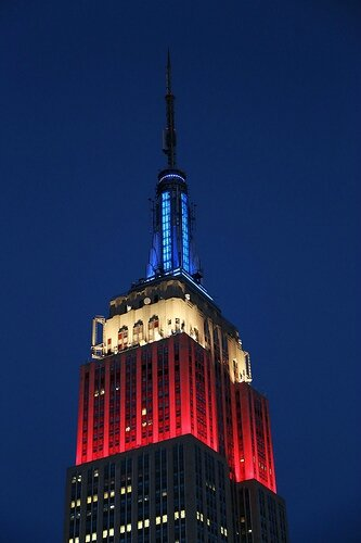 Empire State Building dressed in French flag