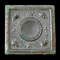 An unusual silvery bronze square mirror, Tang dynasty (618-907)