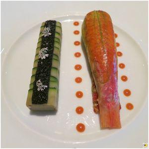 Rouget de la Cotinière en fleur de courgette, chartreuse d'aubergine et olive, citron et tomate confits au basilic (2)