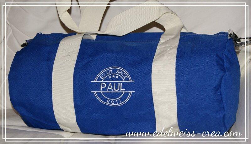 Sac polochon bleu - Paul star since 2017 - cadeau de naissance