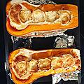 Courge butternut chèvre et lardons