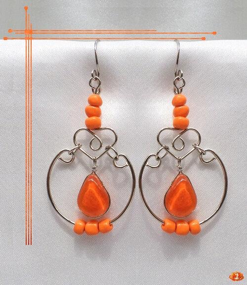Boucles D'Oreilles Véra Verre Murano Orange Argent d'alpaca Artisanat du Pérou