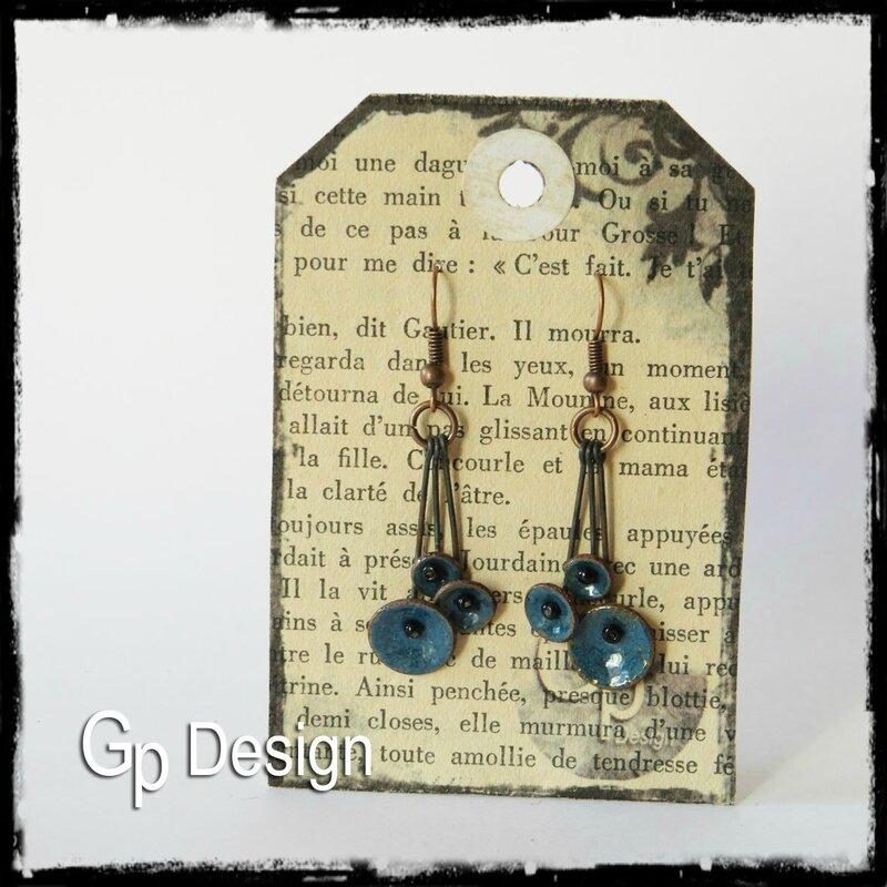 Boucles d'oreilles disques bleus mep