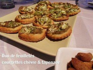 duo de feuilletés courgette chèvre é tapenade d'olives vertes