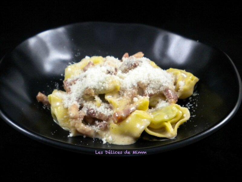 Tortellini à la crème de parmesan et aux lardons fumés 4
