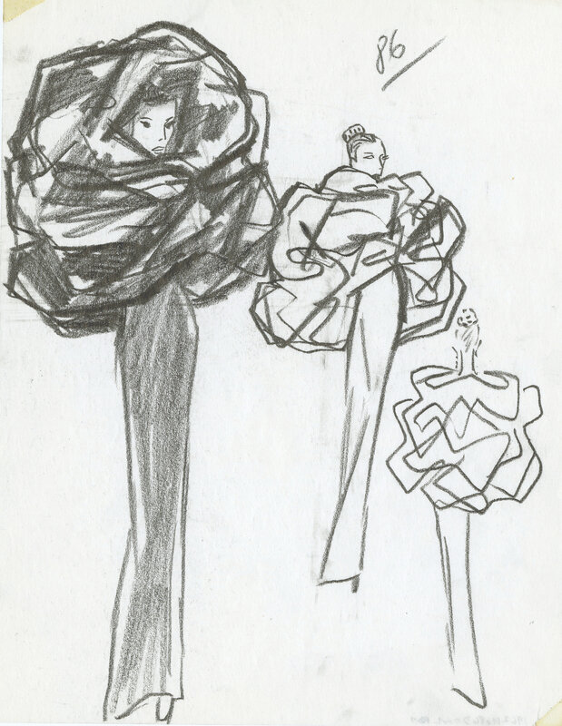Cristóbal Balenciaga, Collection illustration of dress and cape