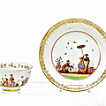 Tea bowl and saucer with chinoiserie. meissen. circa 1730-35.