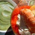 Verrine de mousse de langoustine et crème d'avocat au piment doux