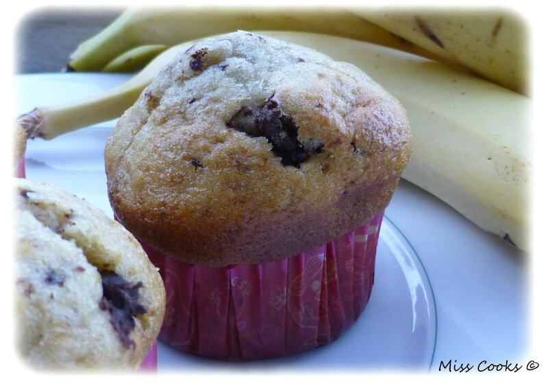 Miss Cooks - Muffins banane chocolat