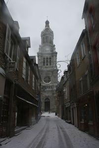 Avranches neige 18 janvier 2013 basilique Saint-Gervais