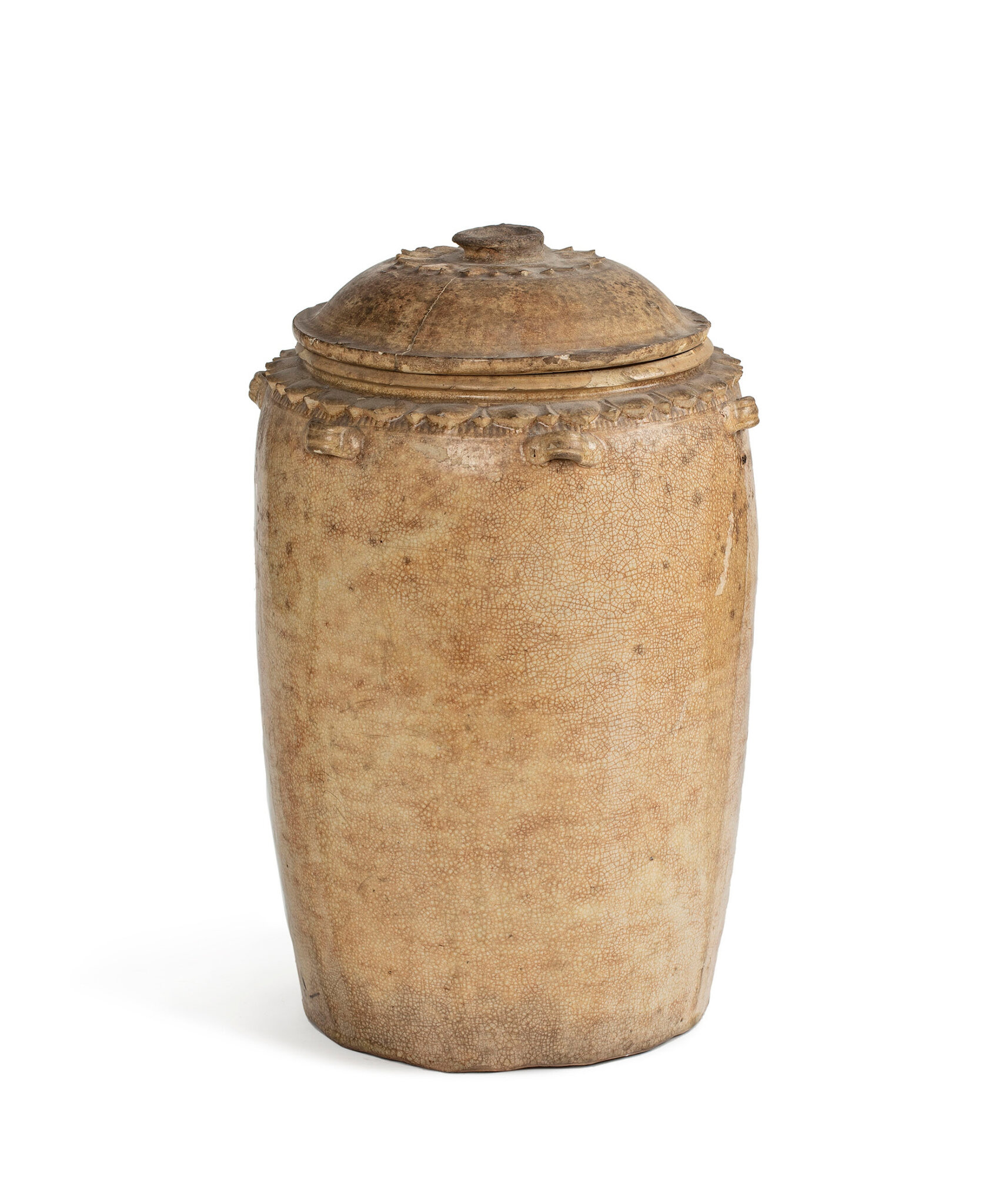 A Vietnamese ceramic storage jar and cover, Ly dynasty, 13th century