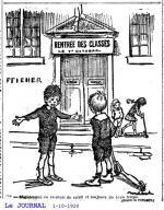 1920 1 oct le journal dessin Poulbot rentrée des classes