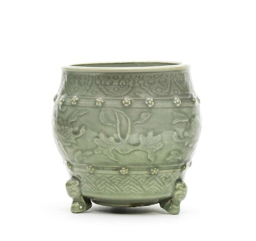A rare Longquan celadon-glazed incense burner, 15th century