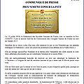 Communiqué fstf - prix nimeño ii