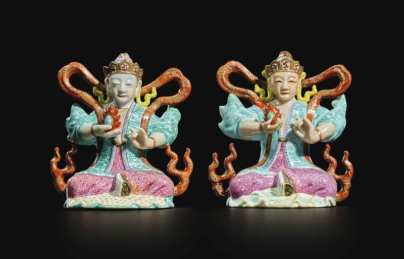 A pair of famille-rose ministers of the treasury, Qing dynasty, Qianlong period (1736-1795)