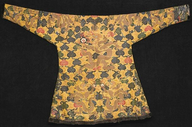 5393d6e7da An Imperial yellow satin brocade tibetan -style  dragon  robe (chuba ...