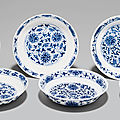 A set of six blue and white 'lotus' dishes, tongzhi six-character marks in underglaze blue and of the period (1862-1874)