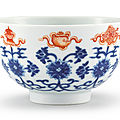 An iron-red and blue and white bowl, seal mark and period of daoguang (1821-1850)