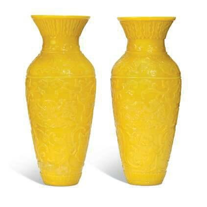 A pair of Chinese yellow glass 'archaistic' vases, 19th-20th century