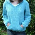 Pull capuche Turquoise-1