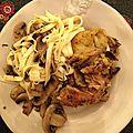 Cuisses de poulet aux champignons et soupe de cacoco