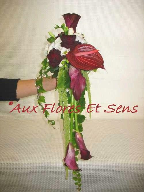 Bouquet de mariée retombant anthurium et amaranthe