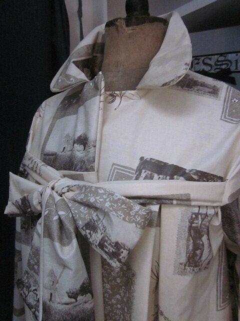 Ciré AGLAE en coton enduit écru impirmé cartes postales anciennes fermé par un noeud (3)