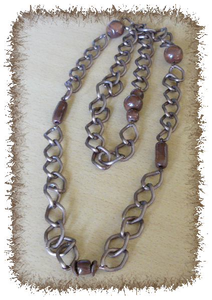 Collier chaine cuivre+perles fimo
