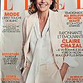 Claire portant une superbe blouse à lavallière dans le magazine elle.